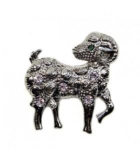 Брошка со стразами овечка темно-серебристая