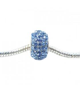 Подвеска - шарм Пандора с кристаллами голубая
