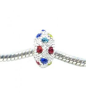 Подвеска - шарм Пандора с кристаллами разноцветными