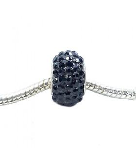 Подвеска - шарм Пандора с кристаллами черная