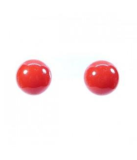 Серьги гвоздики шарики красные