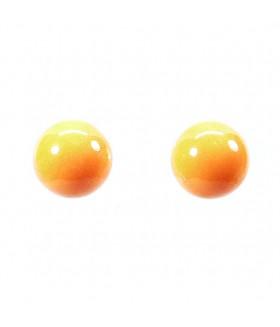 Серьги гвоздики шарики оранжевые