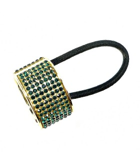 Резинка для волос с кольцом золотисто-зеленая
