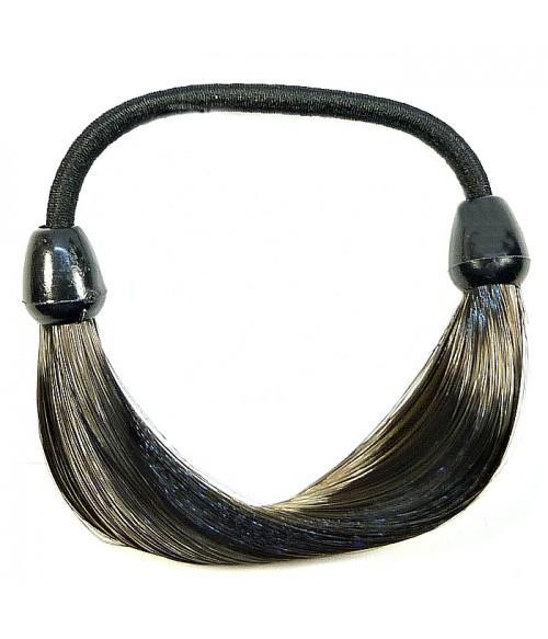 Резинка для волос из искусственных волос темно-коричневая