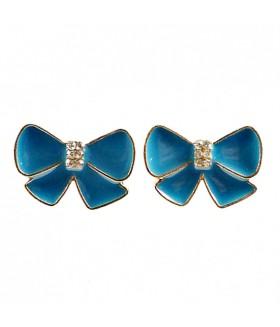 Серьги гвоздики голубые бантики