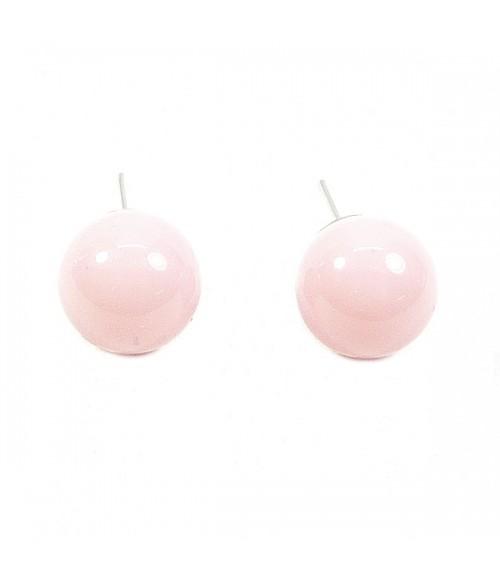 Серьги гвоздики шарики розовые