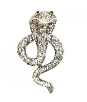 Брошка змея со стразами