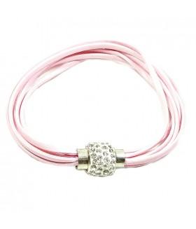 Браслет кожаный розовый с застежкой на магните