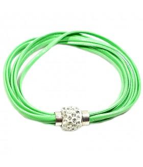 Браслет кожаный зеленый с застежкой на магните