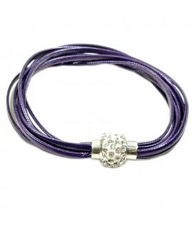 Браслет фиолетовый кожаный