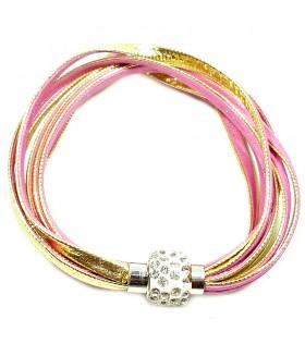Браслет золотисто-розовый кожаный