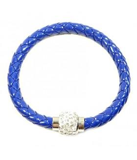Браслет кожаный плетеный синий