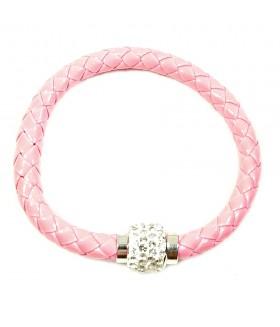 Браслет кожаный розовый