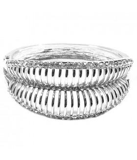 Браслет металлический со стразами серебряного цвета