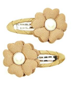 Заколка с цветком коричневая набор 2 штуки