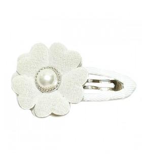 Заколка для волос с цветком белая