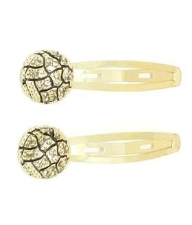 Заколка для волос золотистая с кристаллами набор 2 штуки