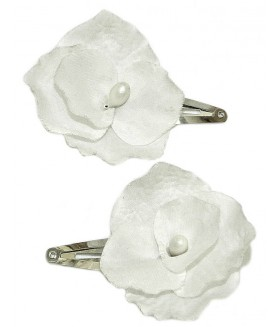 Заколка для волос с белым цветком набор 2 штуки