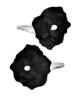 Заколка для волос с черным цветком набор 2 штуки
