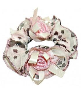 Резинка для волос большая с цветами розовая