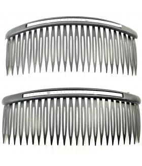 Гребешок для волос черный с сиреневыми вставками набор 2 штуки