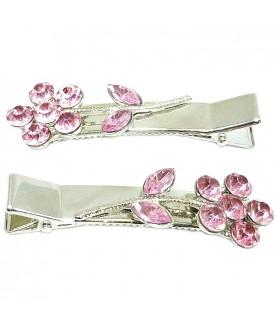 Зажим для волос с розовыми вставками набор 2 штуки