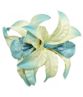 Зажим для волос с большим голубым цветком