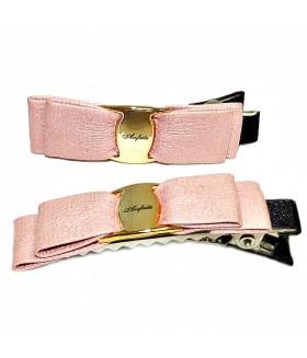 Зажим для волос с кожаной розовой вставкой набор 2 штуки