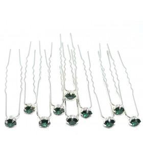 Шпильки для волос с зелеными вставками (комплект 10 штук)