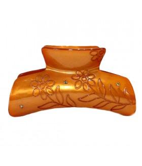 Краб для волос большой силиконовый коричневый