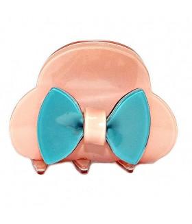 Краб для волос силиконовый розово-голубой