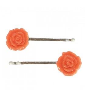 Невидимка для волос красная роза набор 2 штуки
