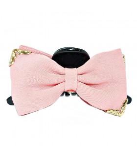 Краб для волос с розовым бантом