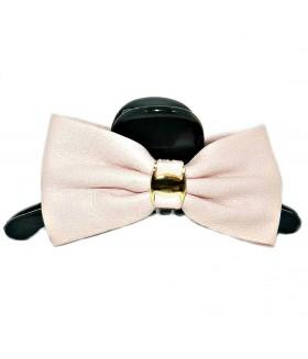 Краб для волос кожаный черно-розовый