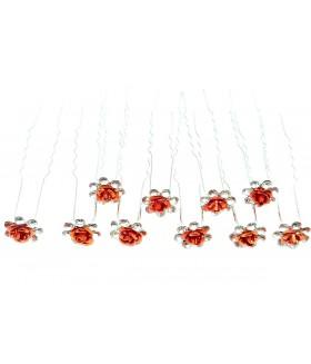 Шпильки для волос с красным цветком (комплект 10 штук)