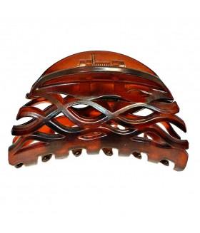 Краб для волос каучуковый темно-коричневый матовый