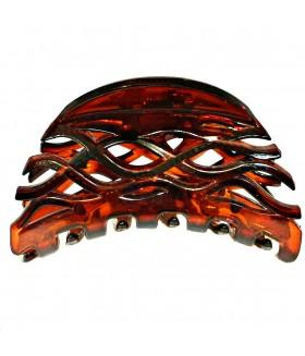 Краб для волос каучуковый темно-коричневый глянцевый