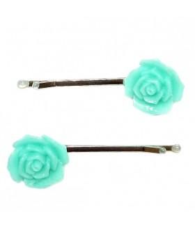 Невидимка для волос роза мятного цвета набор 2 штуки