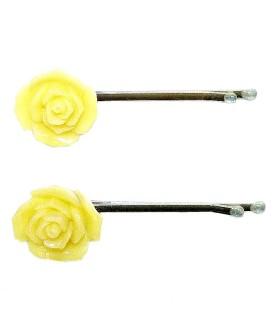 Невидимка для волос желтая цветок набор 2 штуки