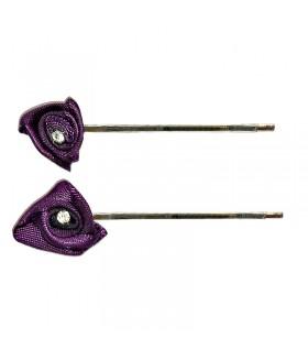 Невидимка с темно-фиолетовым цветком набор 2 штуки