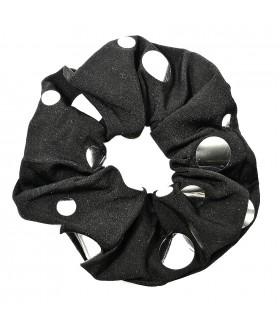 Резинка для волос большая черная с вставками