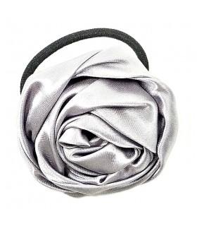 Резинка для волос с цветком серебристого цвета