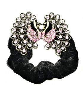 Резинка для волос с павлином с кристаллами