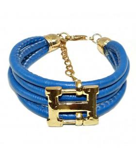 Браслет кожаный синий с золотом