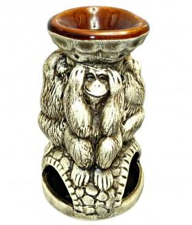Сувенир подсвечник обезьянки из керамики