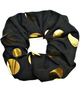 Резинка для волос большая черно-золотистая