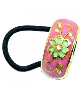 Резинка для волос с кольцом розовая