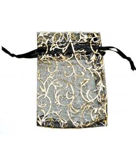 Мешочек подарочный из органзы 6х9 см черно-золотистый