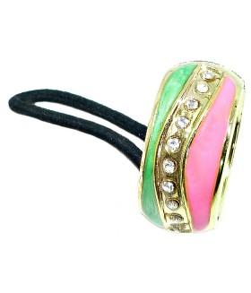 Резинка для волос с кольцом розово-салатовая