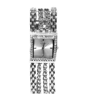 Часы GUESS с широким металлическим браслетом